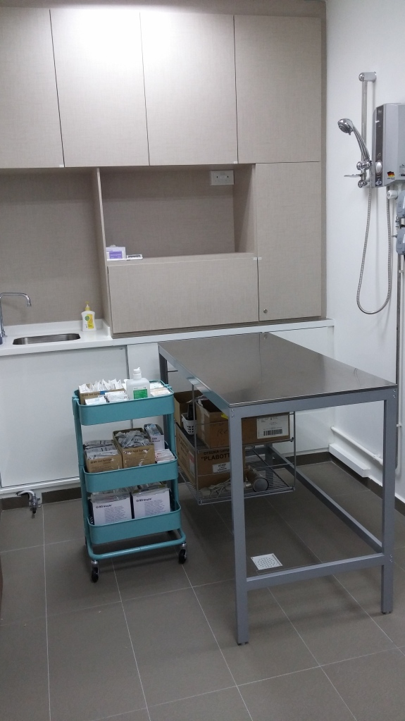 The treatment room where the vet and his team will tend to the needs of your pet.